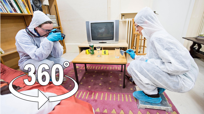 Be a forensic scientist through a crime scene in 360°